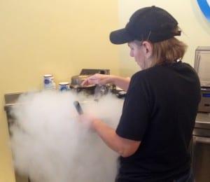 Mary Spann Working the Magic of the liquid nitrogen to make ice cream