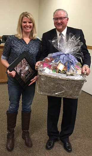 Congratulations Katie Blake for being Santaquin City's 2016 winner. Blake is shown with Santaquin Mayor Kirk Hunsaker.
