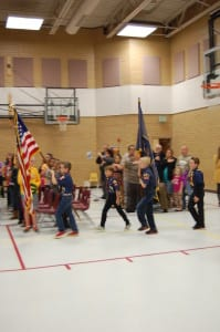 Cub Scouts presenting the flags
